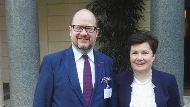 Hanna Gronkiewicz-Waltz i Paweł Adamowicz - prezydent Gdańska Twitter