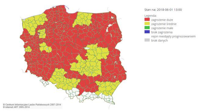 Zagrożenie pożarowe w Polsce (Centrum Informacyjne Lasów Państwowych)
