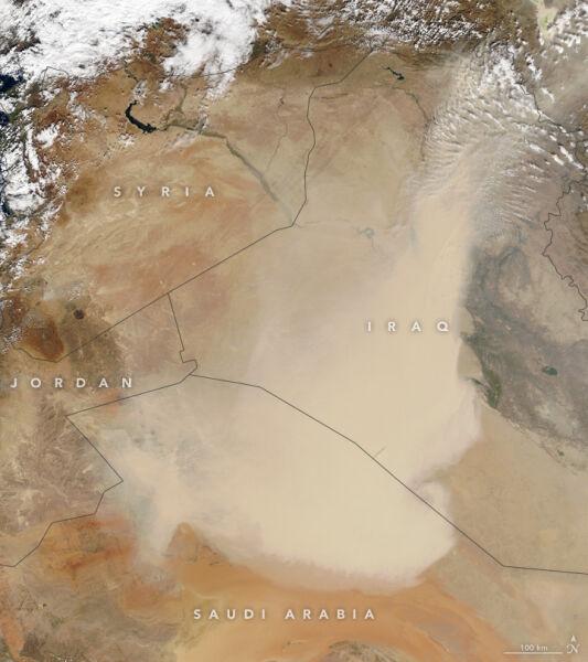 Burza piaskowa nad Irakiem i Arabią Saudyjską 30 października 2017 roku (NASA)