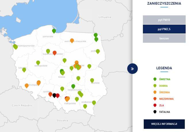 Stężenie pyłu PM2,5 w Polsce po godzinie 7 (GIOŚ/TVN Meteo)